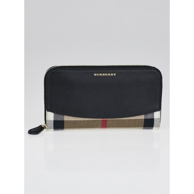 Burberry Black Leather and House Check Elmore Zip Around Wallet