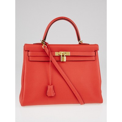 Hermes 35cm Rouge Pivoine Clemence Leather Gold Plated Kelly Retourne Bag