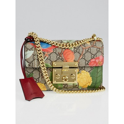 Gucci Beige Multicolore Coated Canvas Tian Padlock Small Shoulder Bag