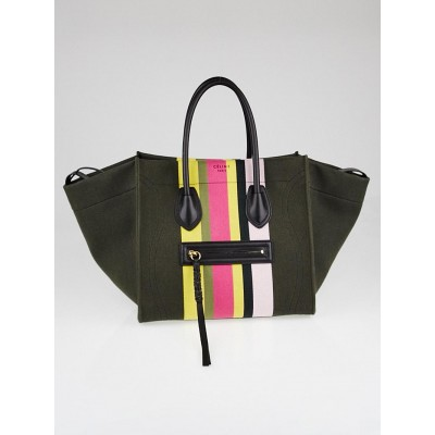 Celine Multicolor Striped Canvas and Calfskin Medium Phantom Luggage Tote Bag