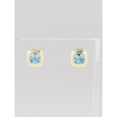 David Yurman 7mm Blue Topaz and 18k Gold Albion Earrings
