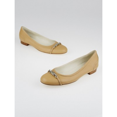 Gucci Tan Leather Ballet Flats Size 8/38.5