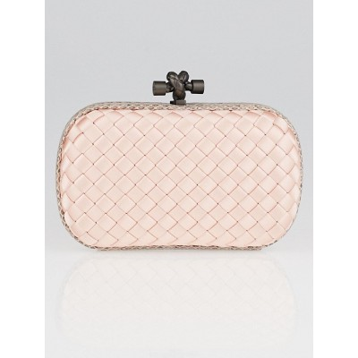 Bottega Veneta Pink Intrecciato Woven Satin Knot Minaudiere Clutch Bag