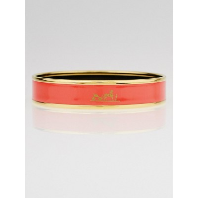 Hermes Salmon Pink Enamel Gold Plated Caleche Narrow Bangle Bracelet Size 65