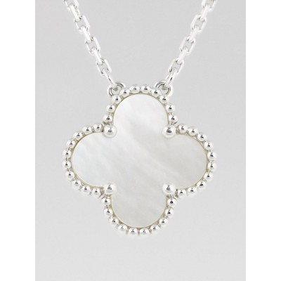 Van Cleef & Arpels 18k White Gold and Mother-of-Pearl Alhambra Pendant