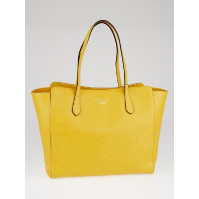Gucci Yellow Pebbled Leather Medium Swing Tote Bag