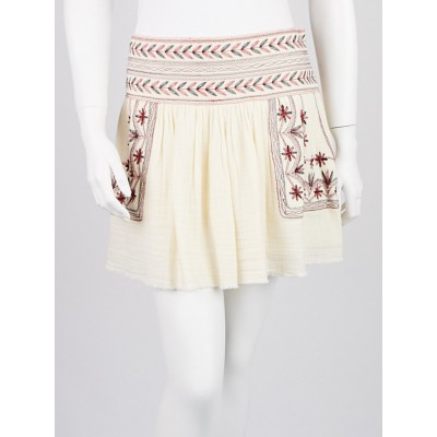 Isabel Marant Etoile Ecru Embroidered Cotton Vera Skirt Size 10/42