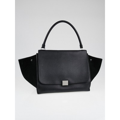 Celine Black Drummed Leather Large Trapeze Bag