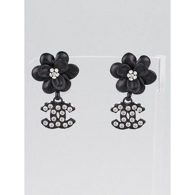 Chanel Black Resin Camellia and CC Crystal Logo Dangle Earrings
