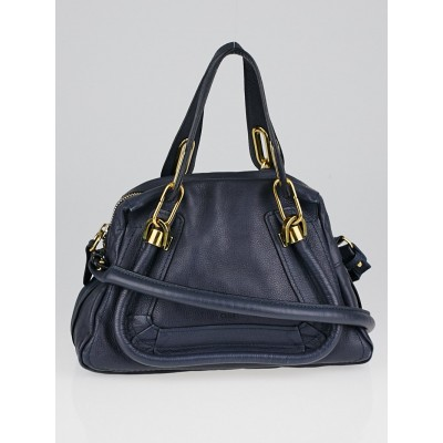 Chloe Navy Blue Pebbled Leather Small Paraty Bag