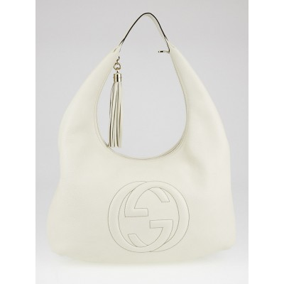 Gucci White Pebbled Leather Soho Hobo Bag