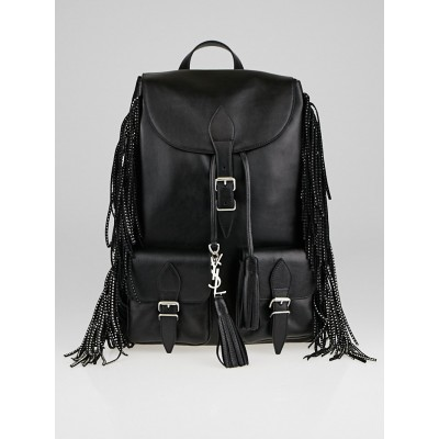 Yves Saint Laurent Black Calfskin Leather Studded Fringe Festival Backpack Bag