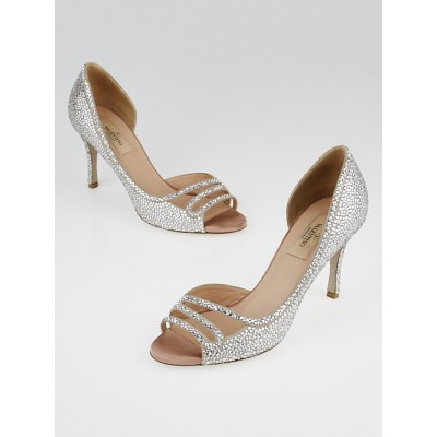 Valentino Blush Suede Strass Peep Toe Pumps Size 6.5/37