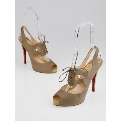 Christian Louboutin Beige Canvas Lace-Up Peep Toe Pumps Size 11/41.5