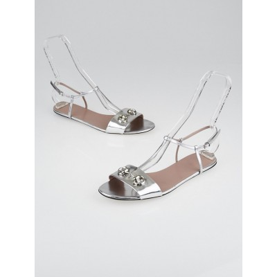 Gucci Silver Leather Horsebit Flat Sandals Size 10.5/41