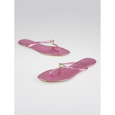 Gucci Metallic Pink Leather GG Thong Sandals Size 10.5/41