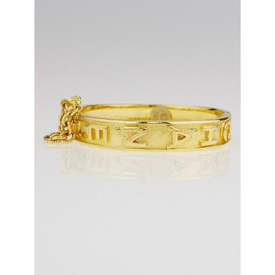 Chanel Vintage Goldtone Metal Logo Bangle Bracelet