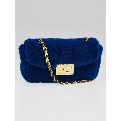 Fendi Blue Shearling Mini Be Baguette Crossbody Bag
