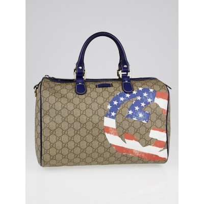 Gucci Beige/Blue GG Coated Canvas American Flag UNICEF Joy Boston Bag