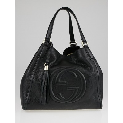 Gucci Black Pebbled Leather Soho Top Handle Tote Bag