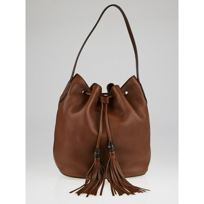 Gucci Brown Pebbled Leather Lady Tassel Bucket Bag