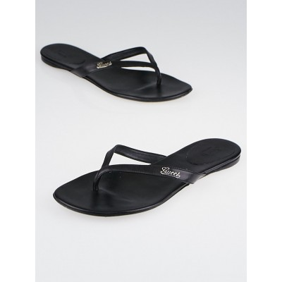 Gucci Black Leather Elizabeth Flat Thong Sandals Size 8/38.5