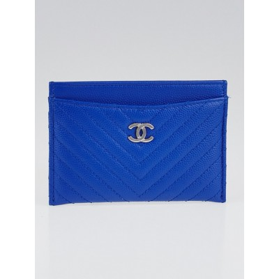 Chanel Bright Blue Chevron Quilted Caviar Leather CC Card Holder
