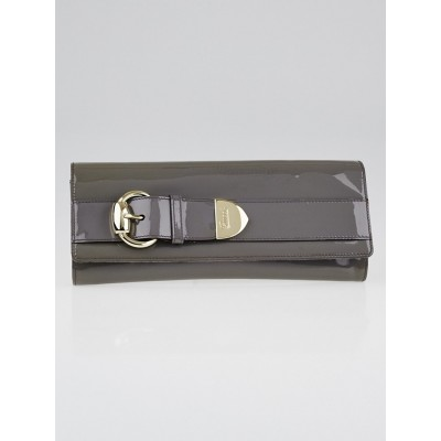 Gucci Grey Patent Leather Buckle Clutch Bag