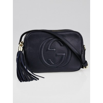 Gucci Navy Blue Pebbled Leather Soho Disco Small Shoulder Bag