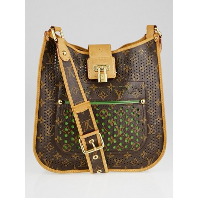 Louis Vuitton Limited Edition Green Monogram Perforated Musette Bag