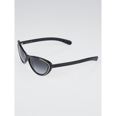 Chanel Black Frame Gradient Tint Cat-Eye Chain Sunglasses-6039