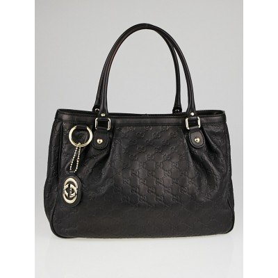 Gucci Black Guccissima Leather Sukey Tote Bag