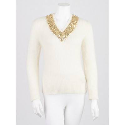 Burberry London White Mohair Blend Studded V-Neck Sweater Size S