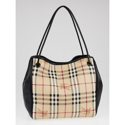 Burberry Black Leather Haymarket Check Coated Canvas Knots Small Canterbury Tote Bag