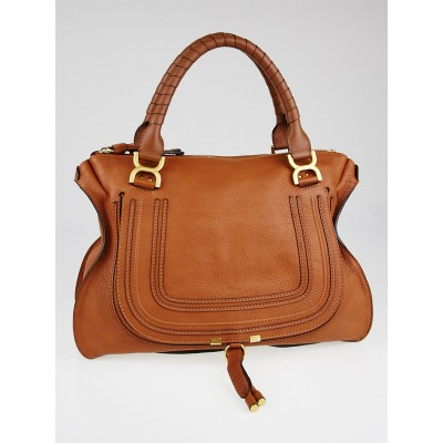 Chloe Nut Pebbled Leather Large Marcie Satchel Bag