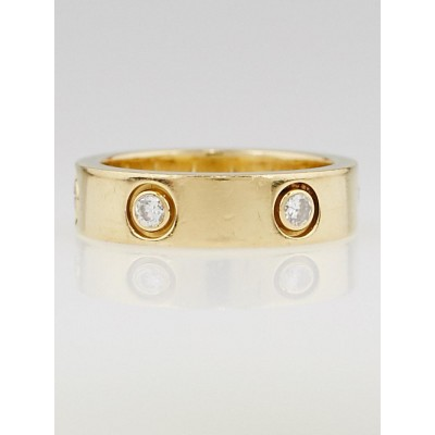 Cartier 18k Yellow Gold and Diamond LOVE Ring Size 7.5/56