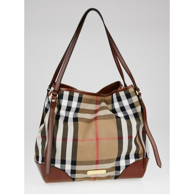Burberry Brown Leather House Check Canvas Large Canterbury Bag