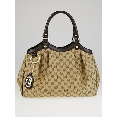 Gucci Beige/Ebony GG Canvas Medium Sukey Tote Bag