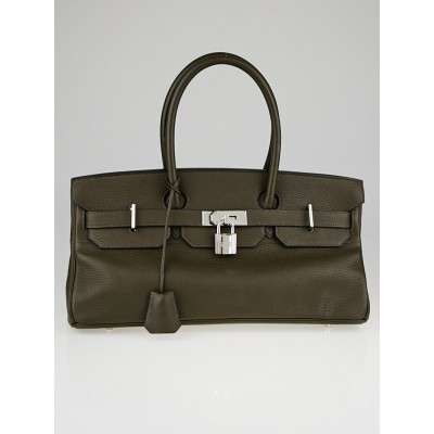 Hermes 42cm Olive Green Clemence Leather Palladium Plated JPG Birkin Bag