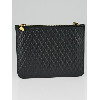 Alexander McQueen Black Quilted Leather Skull Double Clutch Bag