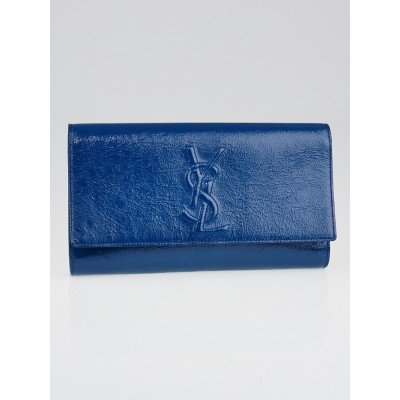 Yves Saint Laurent Blue Textured Patent Leather Belle de Jour Clutch Bag