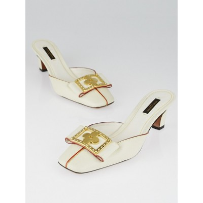 Louis Vuitton White Suhali Leather Slide Mules Size 7.5/38