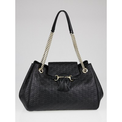 Gucci Black Guccissima Leather Emily Chain Flap Bag