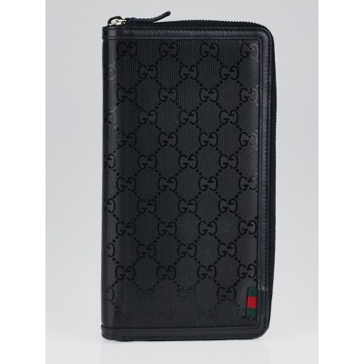 Gucci Black Imprime Travel Document Case
