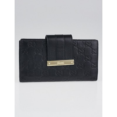 Gucci Black Guccissima Leather Long Continental Flap Wallet