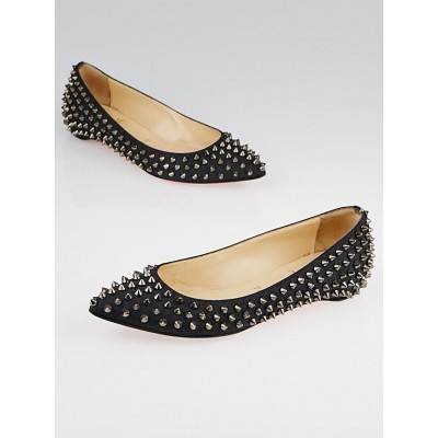 Christian Louboutin Blue Denim Pigalle Spikes Flats Size 6/36.5