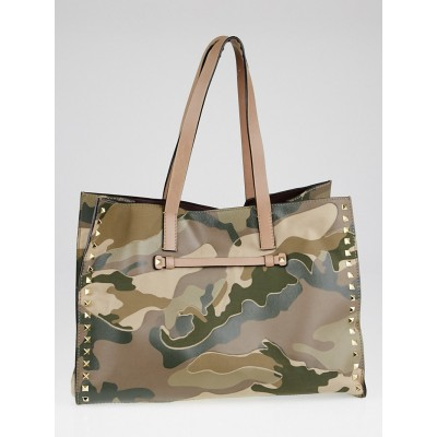 Valentino Camo Print Leather and Canvas Rockstud Tote Bag