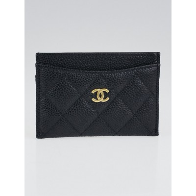 Chanel Black Quilted Caviar Leather Card Holder