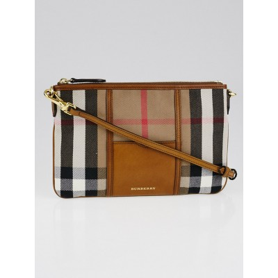 Burberry Brown Leather and House Check Canvas Sartorial Peyton Clutch Bag