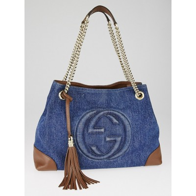 Gucci Dark Blue Denim Soho Chain Tote Bag